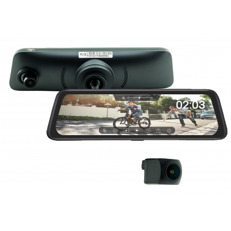 Full Screen Rear View Mirror Replacement Monitor with DVR and Backup Camera Kit