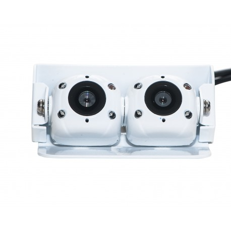 Dual Mini Commercial Safety Camera with Night Vision - White