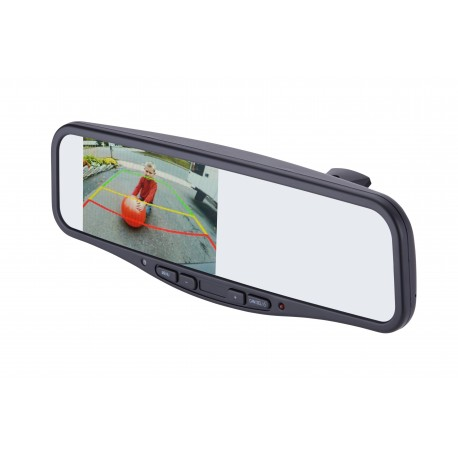 License Plate Mount Camera with Commercial Rearview Mirror with Monitor Kit