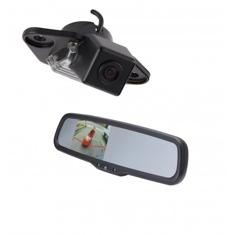 "Ford E-Series OE Custom Fit Camera (PCAM-FE6-N) / 3.5"" Rear Camera Display Mirror (PMM-35-PL)"