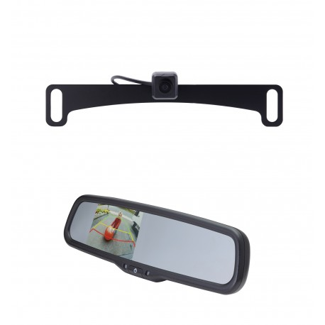 "License Plate Camera (Mounts Behind) (PCAM-10L-N) / 3.5"" Rear Camera Display Mirror (PMM-35-PL)"