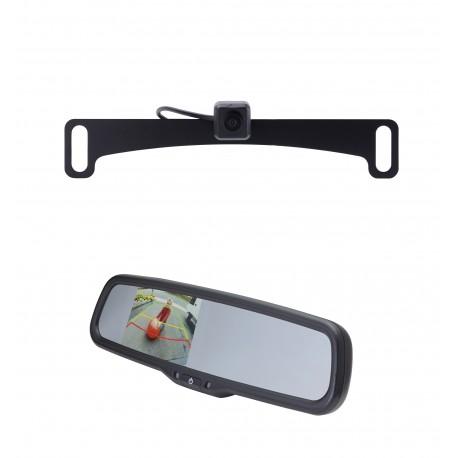 "License Plate Camera (Mounts Behind) (PCAM-10L-N) / 3.5"" Rear Camera Display Mirror (PMM-35-PL)"