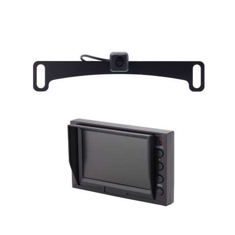 "License Plate Camera (Mounts Behind) (PCAM-10L-N) / 4.3"" Glass Mount Monitor (PMON-43)"