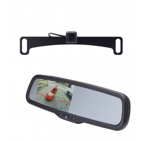 "License Plate Camera (Mounts Behind) (PCAM-10L-N) / 4.3"" Rear Camera Display Mirror (PMM-43-PL)"