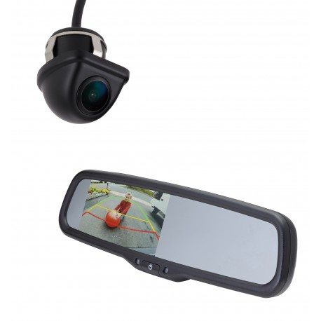 "Backup Camera Kit Under Lip Mount Camera (PCAM-201-N) / 4.3"" Rear Camera Display Mirror (PMM-43-PL)"