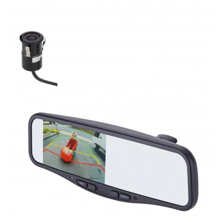 "Under Lip Mount Camera (PCAM-220-N) / 4.3"" Rear Camera Display Mirror (PMM-4322-COM-PL)"