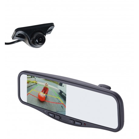 "Under Lip Mount Camera (PCAM-150-N) / 4.3"" Rear Camera Display Mirror (PMM-4322-COM-PL)"