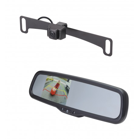 "License Plate Camera (Mounts Behind) (PCAM-10I-N) / 3.5"" Rear Camera Display Mirror (PMM-35-ADPL)"