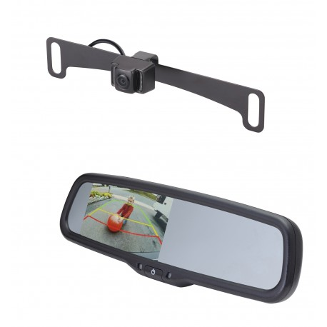 "License Plate Camera (Mounts Behind) (PCAM-10I-N) / 4.3"" Rear Camera Display Mirror (PMM-43-PL)"