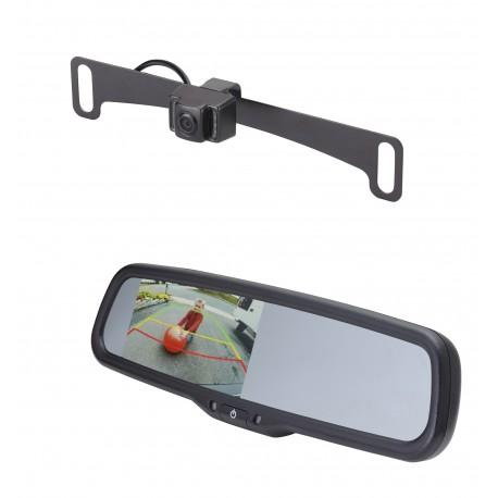 "License Plate Camera (Mounts Behind) (PCAM-10I-N) / 4.3"" Rear Camera Display Mirror (PMM-43-PL)"
