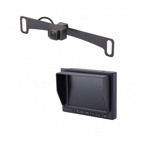 "License Plate Camera (Mounts Behind) (PCAM-10I-N) / 5"" Glass Mount Monitor (PMON-50-FM)"
