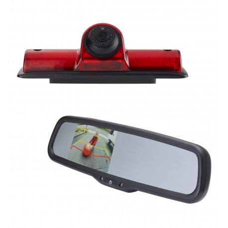 "Nissan NV OE Custom Fit Camera (PCAM-NV4-N) / 3.5"" Rear Camera Display Mirror (PMM-35-PL)"