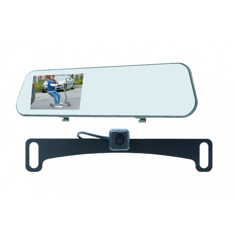 Echomaster MRC-45DVR-CL Dash Cam with Mirror Monitor and Back-up Camera